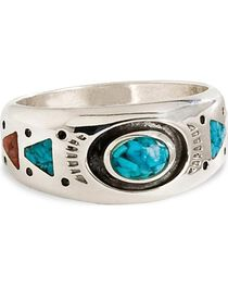 Unisex Turquoise Stone Sterling Silver Ring, , hi-res