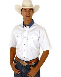 Roper Men's White Twill With Denim Collar Western Shirt, , hi-res