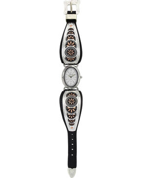 Montana Silversmiths Two Toned Prairie Leather Watch, Silver, hi-res