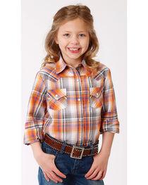 Roper Girls' Orange Ombre Plaid Western Shirt , , hi-res