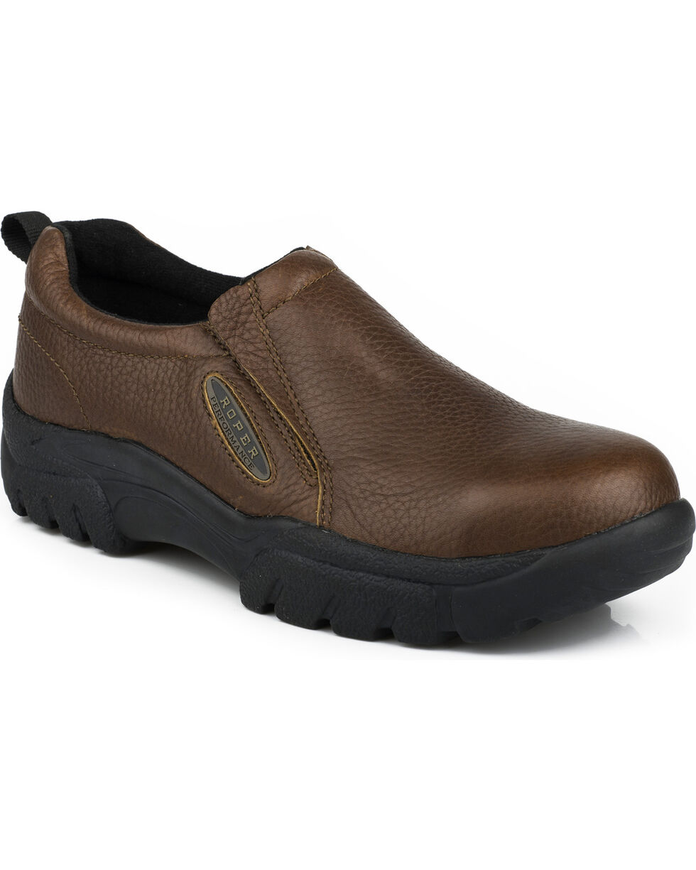 Roper Men's Slip-On Work Shoes - Steel Toe , Brown, hi-res