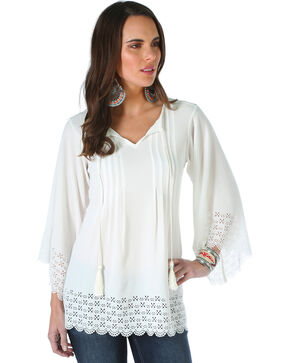 Wrangler Women's Quarter Sleeve Top with Tie and Tassels, Cream, hi-res