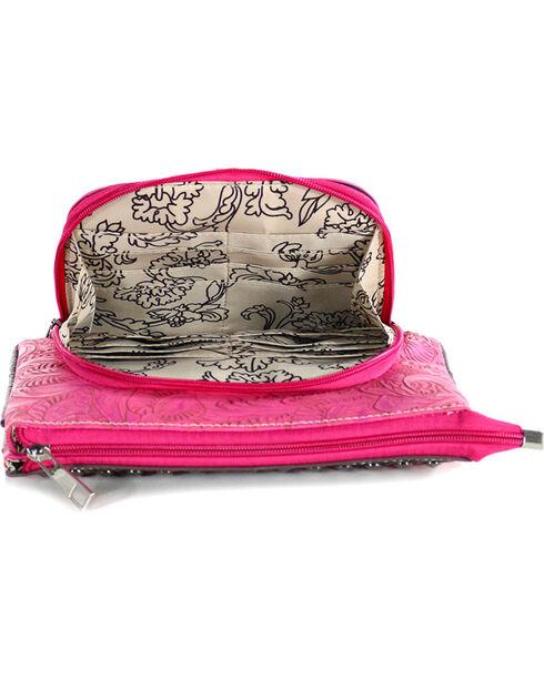 Savana Women's Triple Pocket Crossbody Bag, Hot Pink, hi-res
