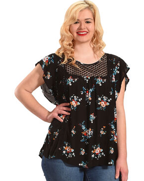 Stony Women's Black Floral Printed Flutter Sleeve Blouse - Plus, Black, hi-res