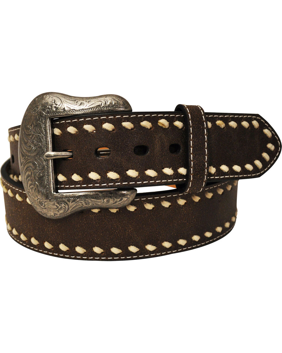 G Bar D Men's Brown Buck Stitch Belt, Brown, hi-res