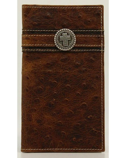Ariat Ostrich Print Cross Concho Rodeo Wallet, Brown, hi-res