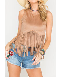 Freeway Apparel Women's Tan Long Fringe Top, , hi-res