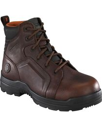 """Rockport Women's More Energy Brown 6"""" Lace-Up Work Boots - Composition Toe, Brown, hi-res"""