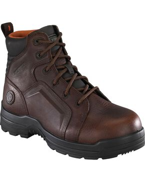 "Rockport Women's More Energy Brown 6"" Lace-Up Work Boots - Composition Toe, Brown, hi-res"