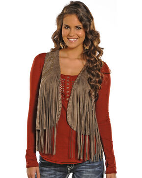 Powder River Outfitters by Panhandle Women's Fringe Vest, Taupe, hi-res