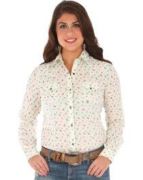 Wrangler Women's Long Sleeve Printed 2 Snap Pocket Shirt, , hi-res
