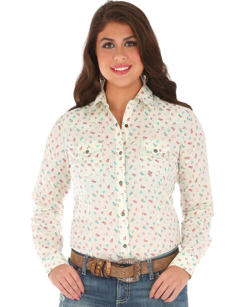Wrangler Women's Long Sleeve Printed 2 Snap Pocket Shirt, Cream, hi-res