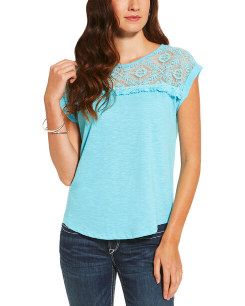 Ariat Women's Aqua Rita Short Sleeve Top , Aqua, hi-res