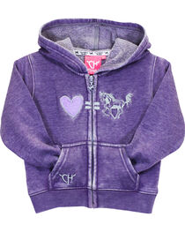 Cowgirl Hardware Toddler Girls' Purple Love Equals Horses Full Zip Hoodie, , hi-res
