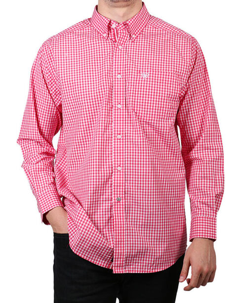 Ariat Men's Newbury Long Sleeve Performance Shirt, Red, hi-res