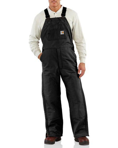 Carhartt Men's Flame-Resistant Duck Bib Quilt Lined Overalls, Black, hi-res