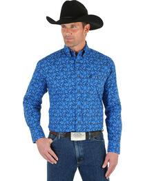 Wrangler George Strait Men's Blue Paisley Shirt, , hi-res