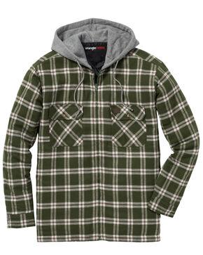 Wrangler Men's Plaid Hooded Quilted Flannel Jacket, Olive, hi-res