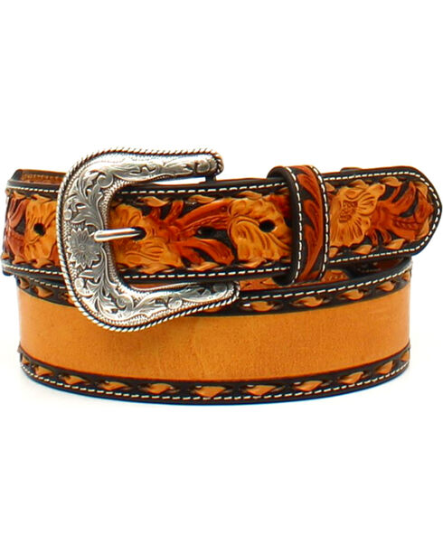 Nocona Men's Tapered Floral Name Belt , Tan, hi-res