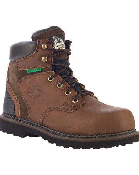 Georgia Men's Steel Toe Waterproof Brookville Work Boots, Dark Brown, hi-res