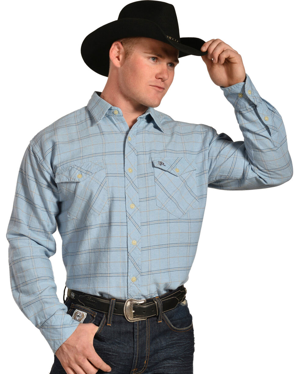 Resistol Men's Blue Varnell Checkered Western Shirt , Light Blue, hi-res