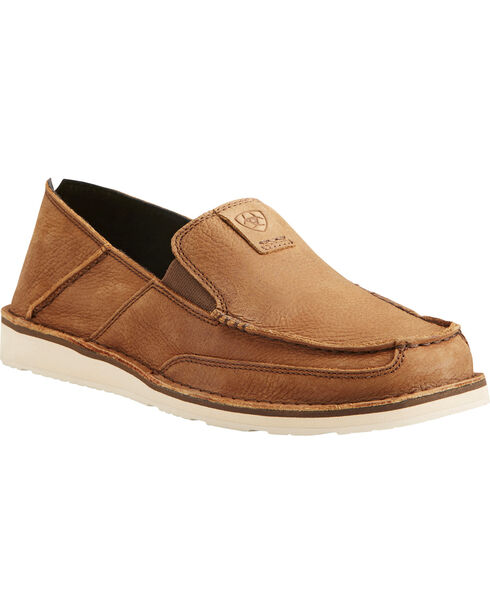Ariat Men's Cruiser Leather Slip On Shoes - Moc Toe, Lt Brown, hi-res