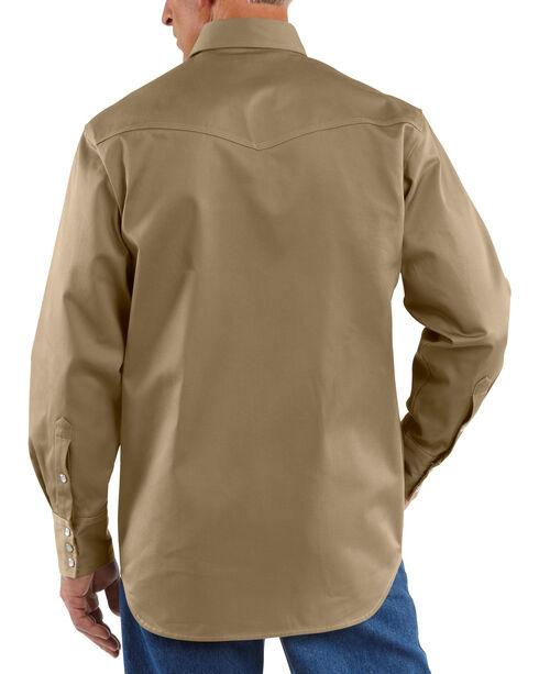 Carhartt Solid Cotton Twill Long Sleeve Work Shirt, Khaki, hi-res