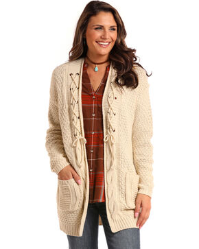 Panhandle Women's Cream Lace-Up Cardigan , Cream, hi-res