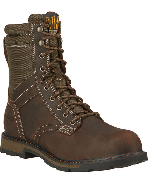 "Ariat Men's 8"" Groundbreaker Waterproof Steel Toe Work Boots, Dark Brown, hi-res"