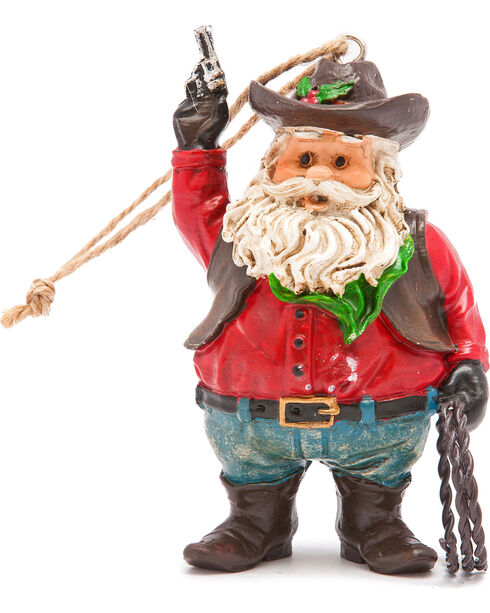 BB Ranch Cowboy Santa with Pistol Ornament, No Color, hi-res