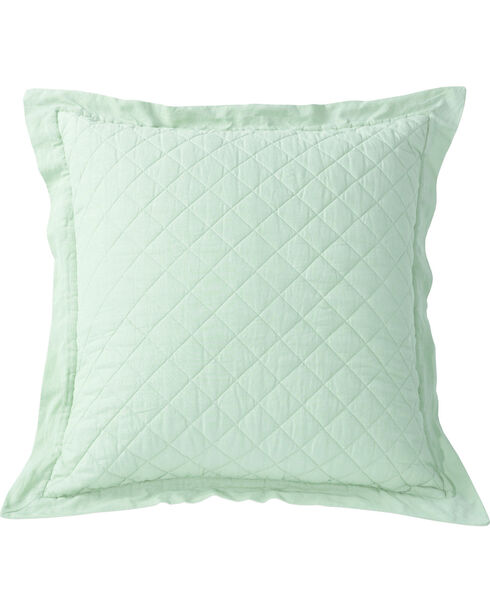 HiEnd Accents Diamond Pattern Quilted Seafoam Linen King Sham, Green, hi-res