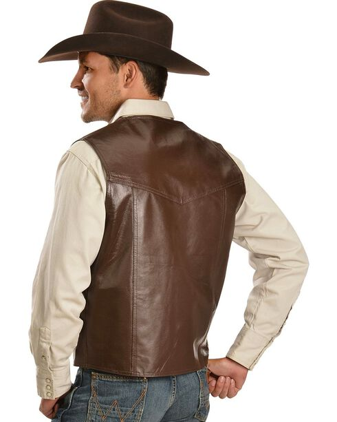 Vintage Leather Western Yoke Genuine Leather Vest, Brown, hi-res