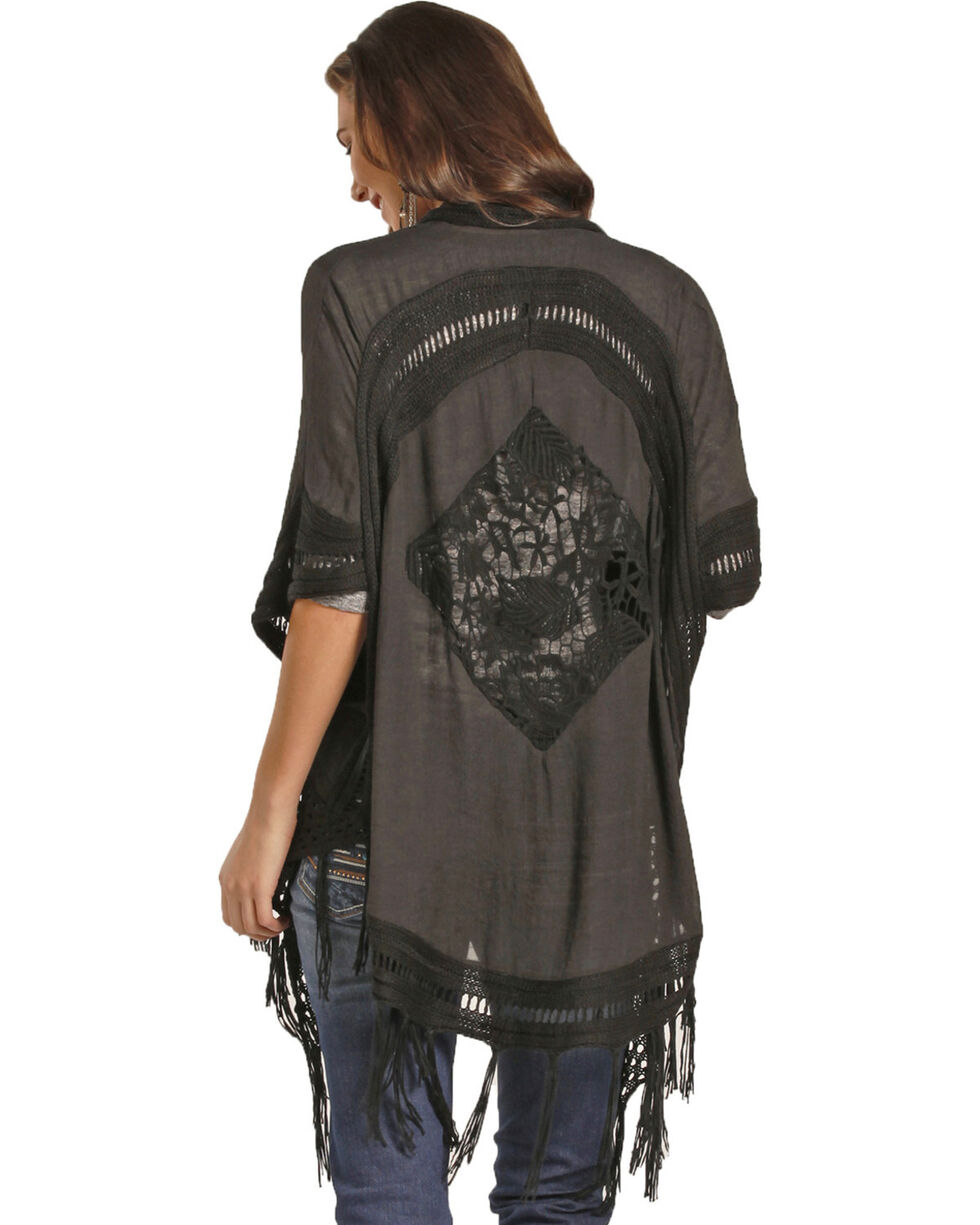 Rock & Roll Cowgirl Women's Black Crochet Back Duster , Black, hi-res