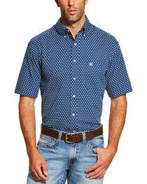 Ariat Men's Navy Neilan Print Short Sleeve Shirt , , hi-res