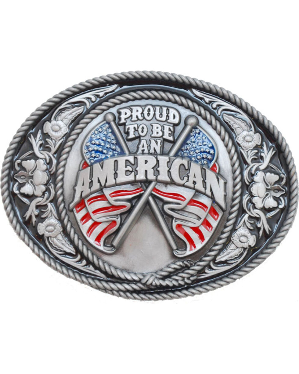 Western Express Men's Proud To Be An American Belt Buckle , Red, hi-res