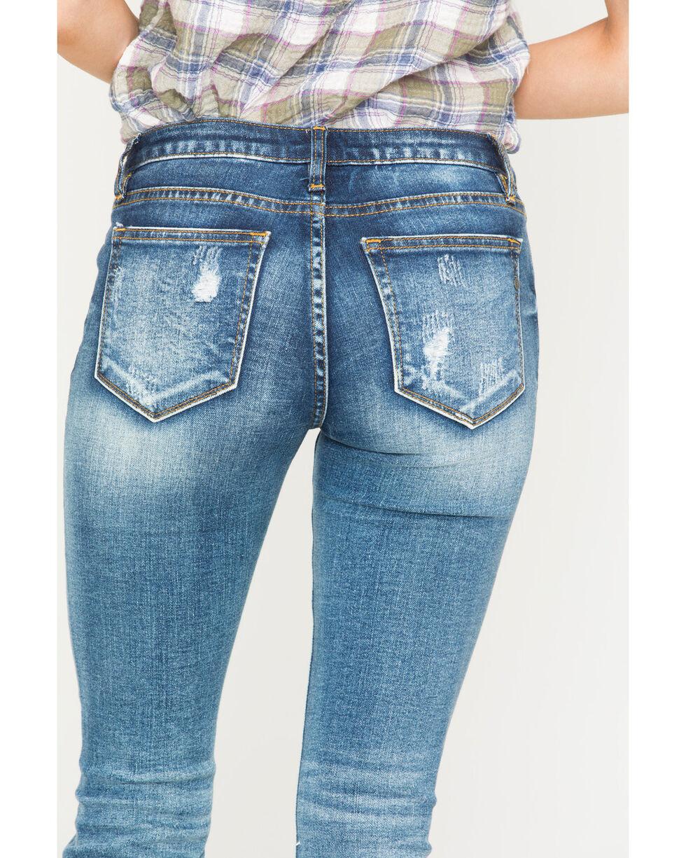 Miss Me Women's Step It Up Mid Rise Boot Cut Jeans  , Indigo, hi-res