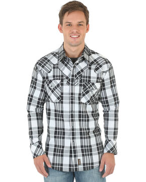 Wrangler Retro Men's Long Sleeve Spread Collar Shirt, Blk/white, hi-res