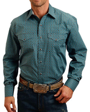 Stetson Men's Four Leaf Foulard Pattern Long Sleeve Shirt, Blue, hi-res