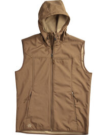 American Worker Men's Brown Crafted Soft-Shell Hooded Vest, , hi-res