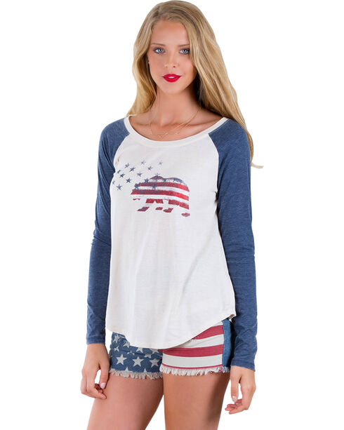 Others Follow Women's American Pie Long Sleeve Baseball T-Shirt , Sand, hi-res