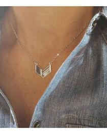 Montana Silversmiths Women's Patriotic Chevron Flag Necklace, , hi-res