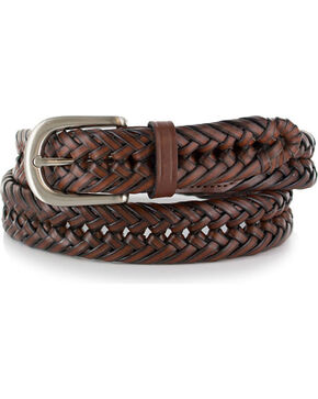 American Worker® Men's Woven Leather Belt, Chestnut, hi-res