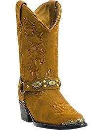 Laredo Girls' Little Concho Tan Harness Cowboy Boots - Round Toe, , hi-res
