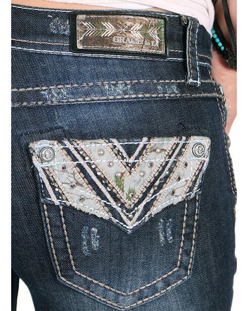 Grace in LA Women's Camo Printed Boot Cut Jeans, Blue, hi-res