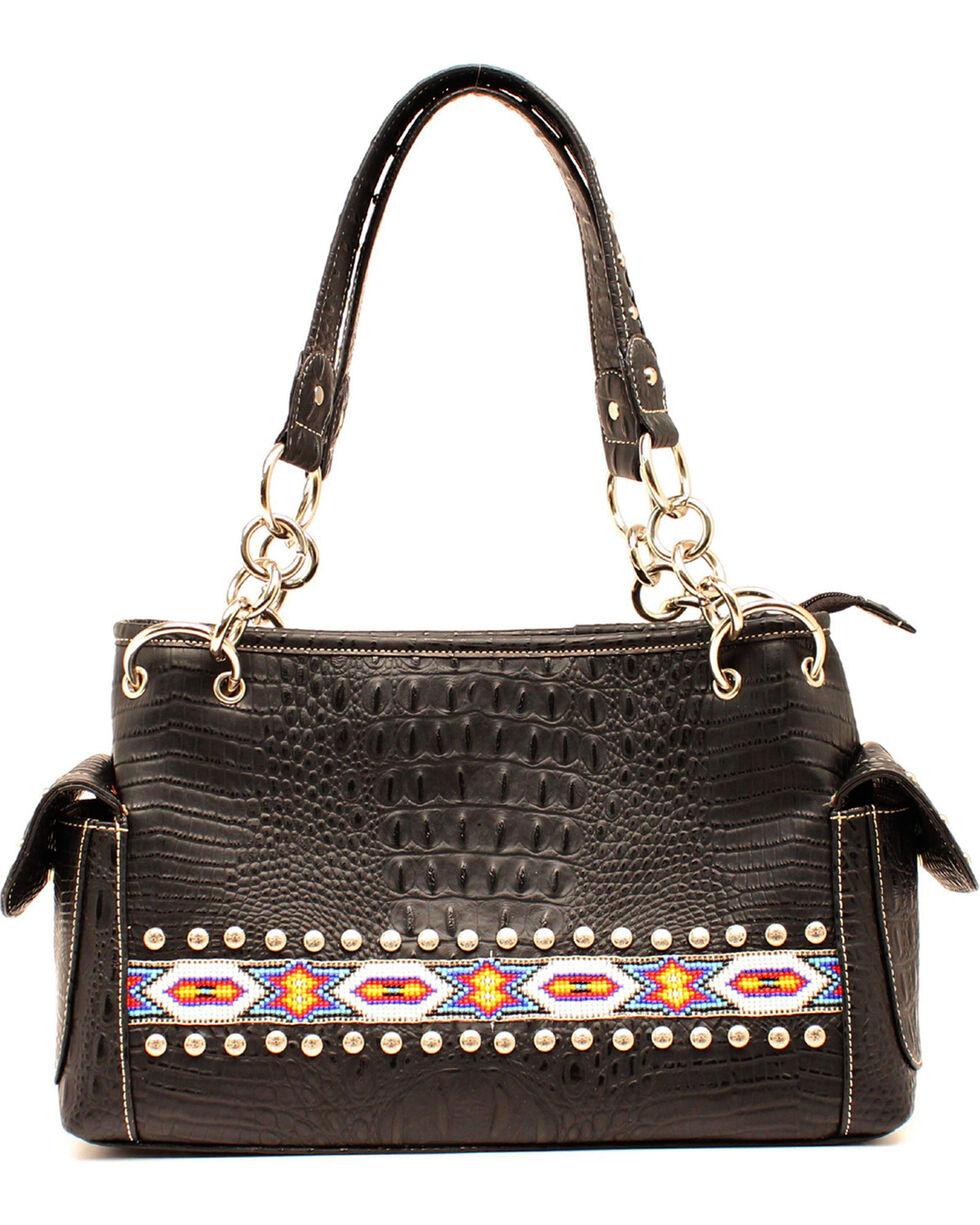 M&F Women's Blazin' Roxx Aztec Bead Purse, Black, hi-res