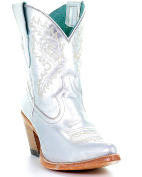 Corral Women's Silver Embroidered Ankle Boots - Snip Toe, Silver, hi-res