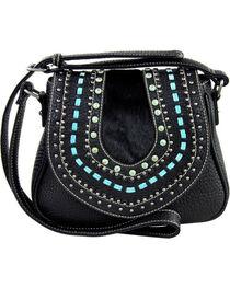 Shyanne Women's Black Embellished Saddle Crossbody Bag , , hi-res