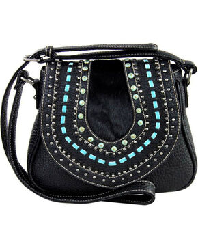 Shyanne Women's Black Embellished Saddle Crossbody Bag , Black, hi-res