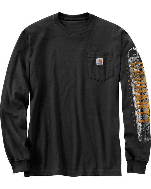 Carhartt Workwear Men's Saw Graphic Long Sleeve T-Shirt, Black, hi-res