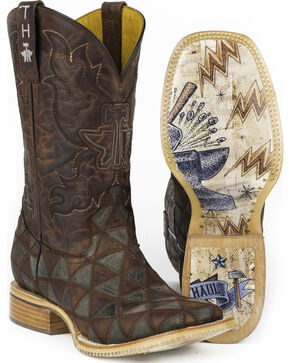 Tin Haul Men's Triangles Cowboy Boots - Square Toe, Brown, hi-res